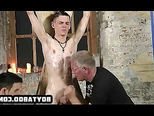 Twink getting hot wax on his chest and jerked off hard
