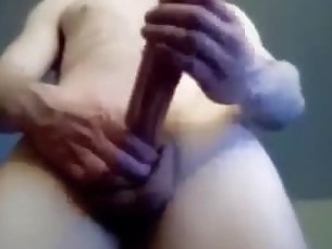 TWINK STROKING HIS 10 INCH AND CUM