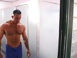 Musclemen in Steamy Threesome